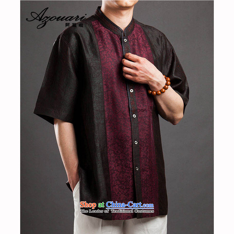 Azzu _azouari_ defense men of the cloud of incense Tang dynasty short-sleeved silk Chinese shirt dark red�