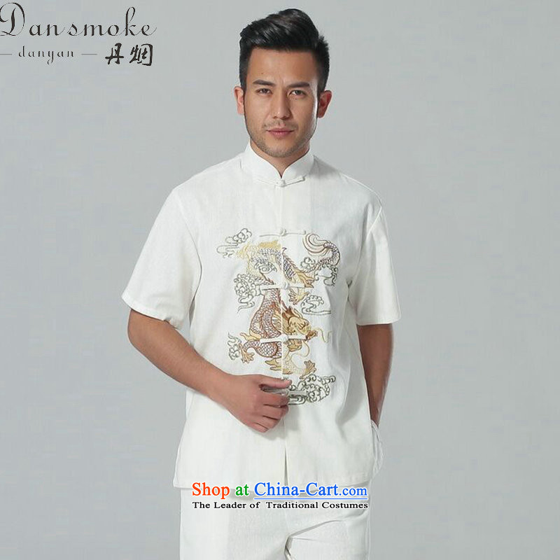 Dan smoke summer new men short-sleeved Tang Dynasty Chinese collar of his breast embroidered dragon cotton linen tai chi service men Kit Single T-shirts are?M