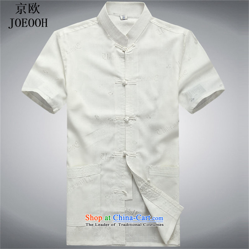 Beijing Spring Summer Europe cotton linen men Tang dynasty male short-sleeved cotton linen Chinese Disc buttoned, shirt summer white�L