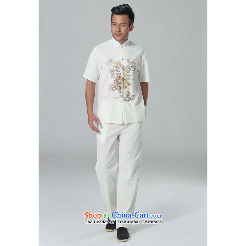 Figure for summer flowers new men short-sleeved Tang Dynasty Chinese collar of his breast embroidered dragon cotton linen tai chi service men Kit White Kit燣