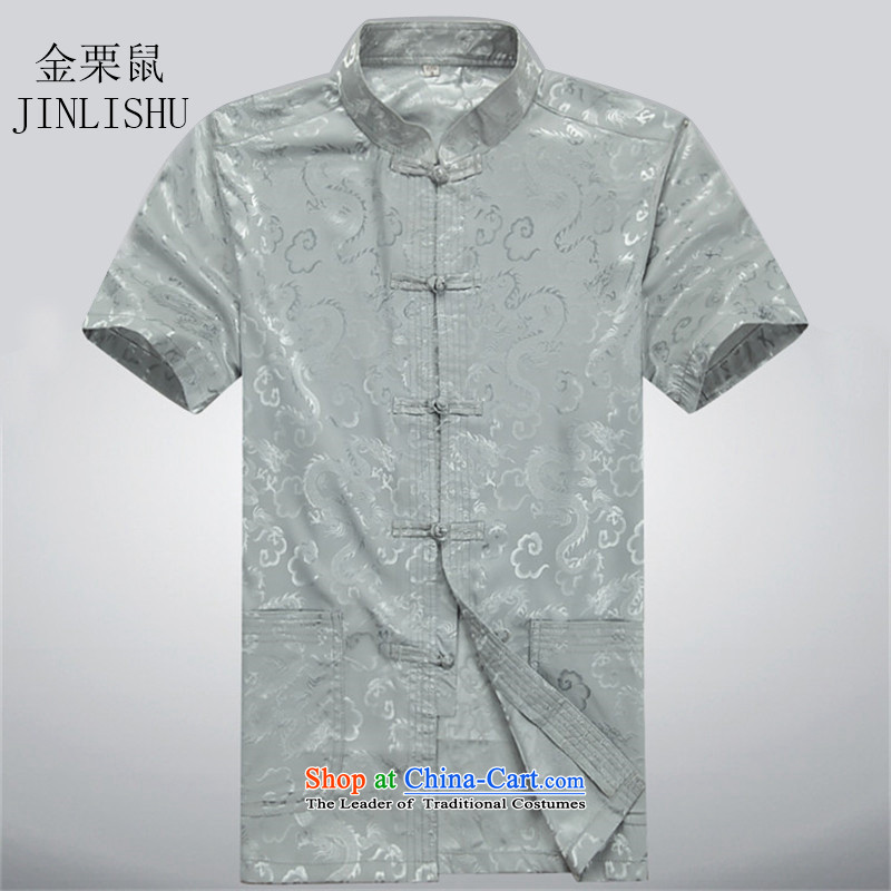 Kanaguri Mouse China wind summer older short-sleeved Tang in older men are large Tang Dynasty Package gray shirt Tsing聽XL