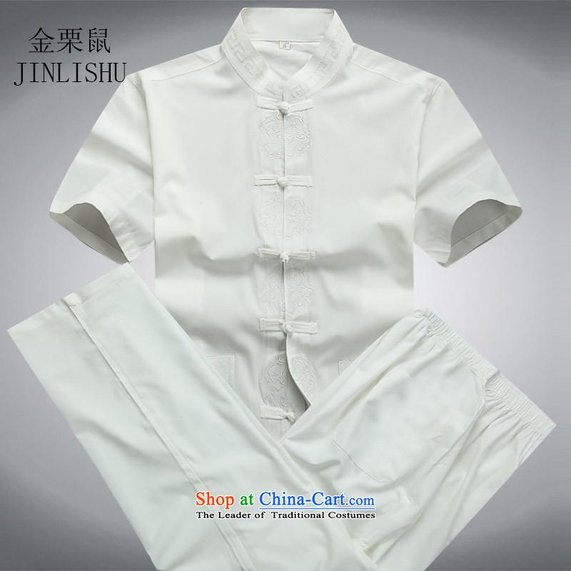 Kanaguri mouse in Tang Dynasty older men and short-sleeved shirt older older persons Summer Package men father Boxed Kit White聽XL, kanaguri mouse (JINLISHU) , , , shopping on the Internet