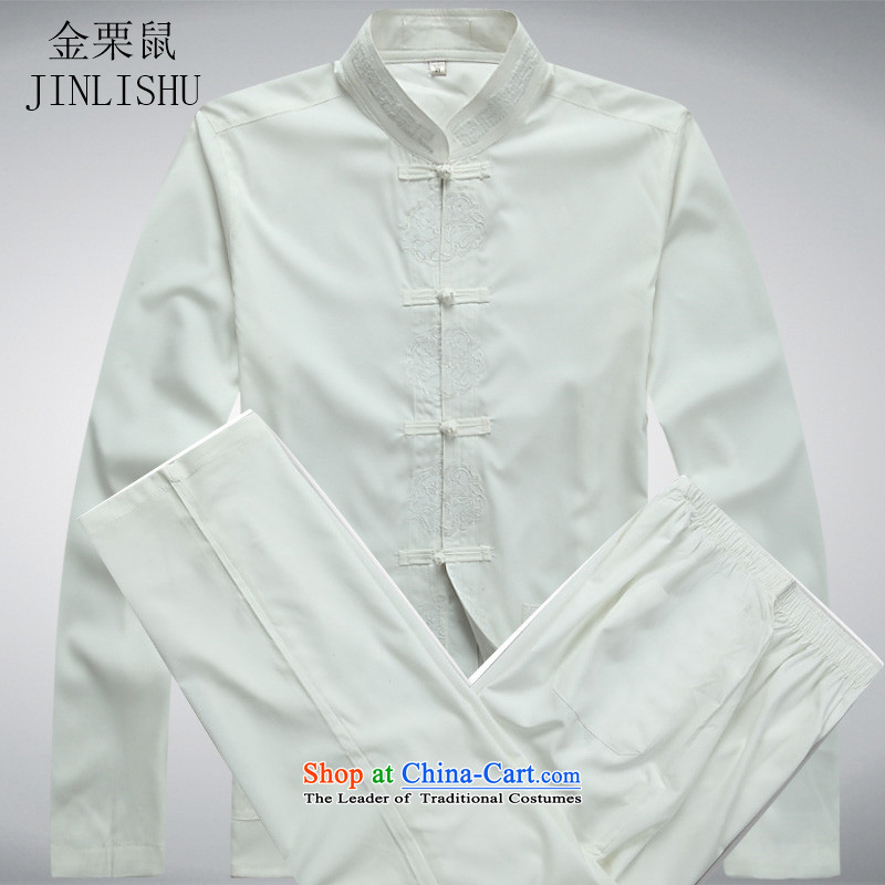 In the spring of Kim Gopher Tang dynasty older men and long-sleeved shirt older persons men Kit Chinese Han-long-sleeved white kit kit?S