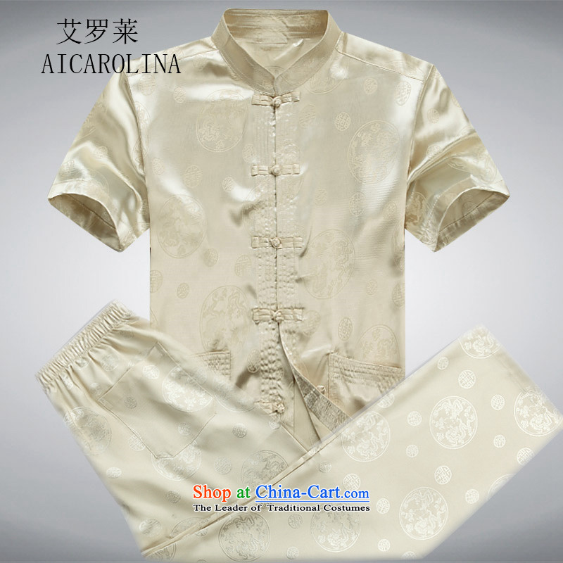 Hiv Rollet spring and summer men Tang Dynasty Package short-sleeved older people in China wind men's grandfather summer Chinese gold燲XXL Kit
