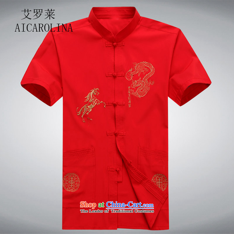 Hiv Rollet short-sleeved shirts in the summer of Tang Dynasty older Men's Shirt father replacing older persons men casual shirts Tang Red S