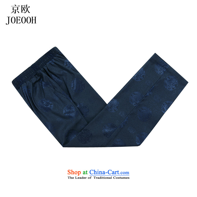 Beijing New Europe China wind millennium thick elastic waist Tang pants and men casual pants and comfortable blue燲XXL