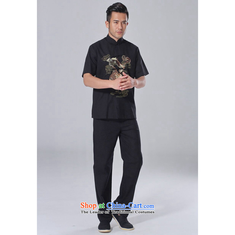 Figure for summer flowers New Men Tang Dynasty Chinese improved to cut Yong-nam, embroidered cotton linen Tai Chi Kit short-sleeved clothing kit?XL