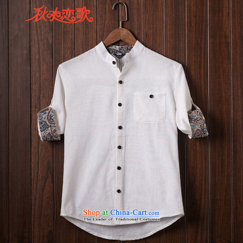 Chaplain Sonata summer men Tang dynasty short-sleeved shirt spring and summer large China wind linen 7 cuff artist shirts and white燣