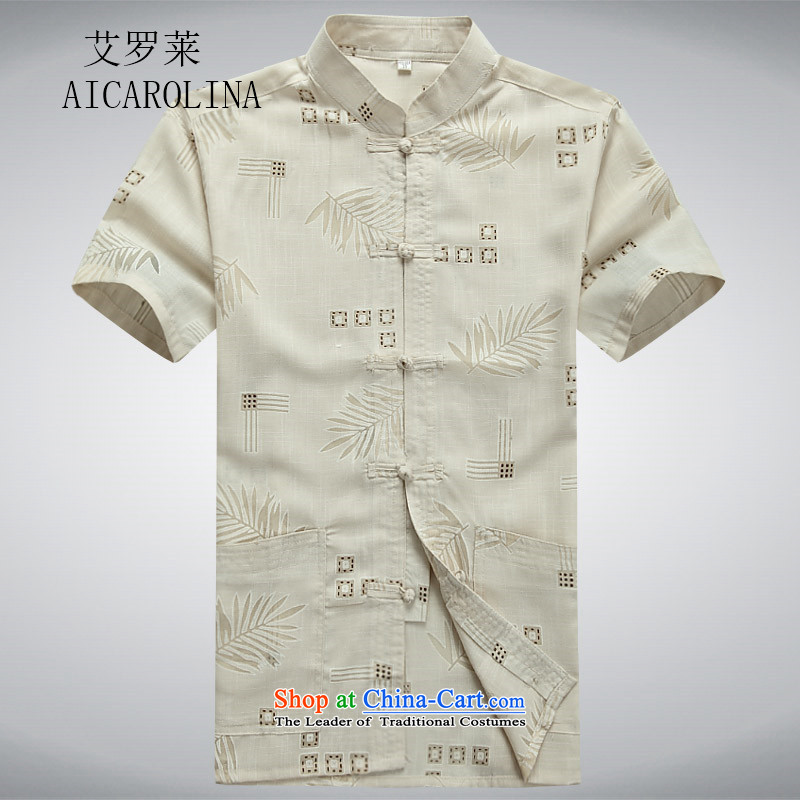 Rollet HIV Tang dynasty in the number of older men and short-sleeved shirt older older persons summer load men dad grandpa blouses聽XXXL Beige