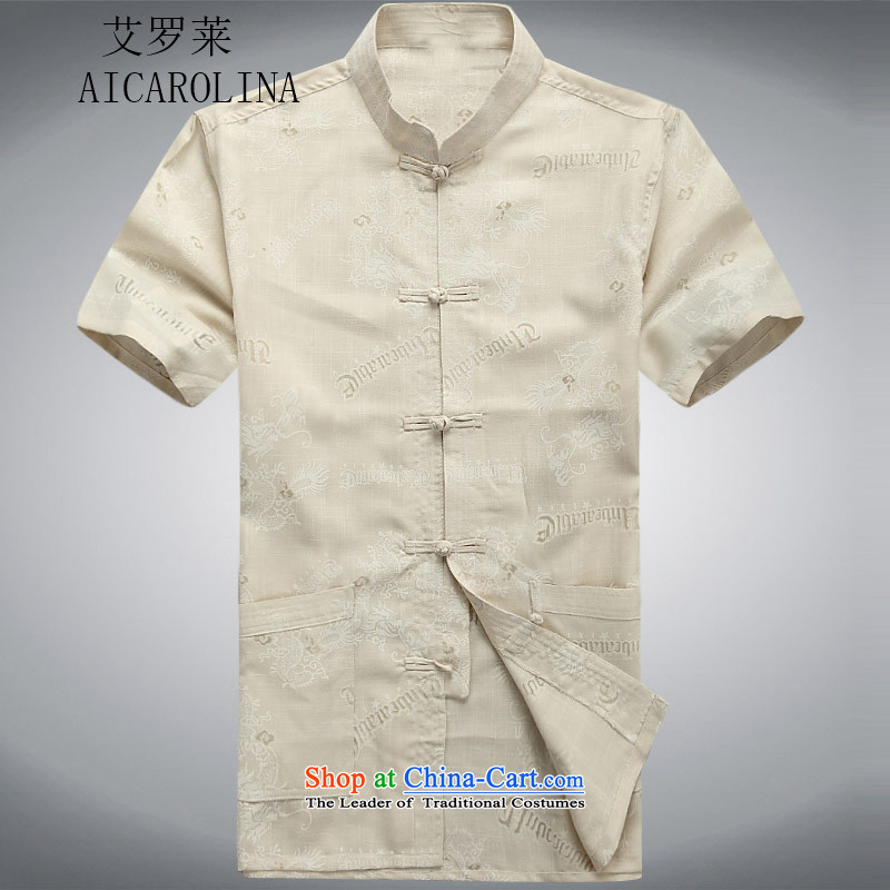 Hiv Rollet summer men Tang dynasty short-sleeved leisure ethnic short-sleeved shirt with older dress beige?M