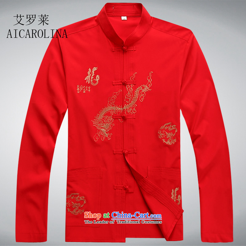 Hiv Rollet men's shirts in Tang dynasty China wind collar long-sleeved kit national costumes middle-aged large spring燲XXL red T-Shirt