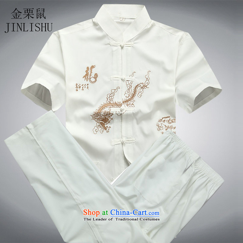 Kanaguri mouse men in the national costumes of older men Tang dynasty short-sleeve kit for summer Han-T-shirt White Kit?XL