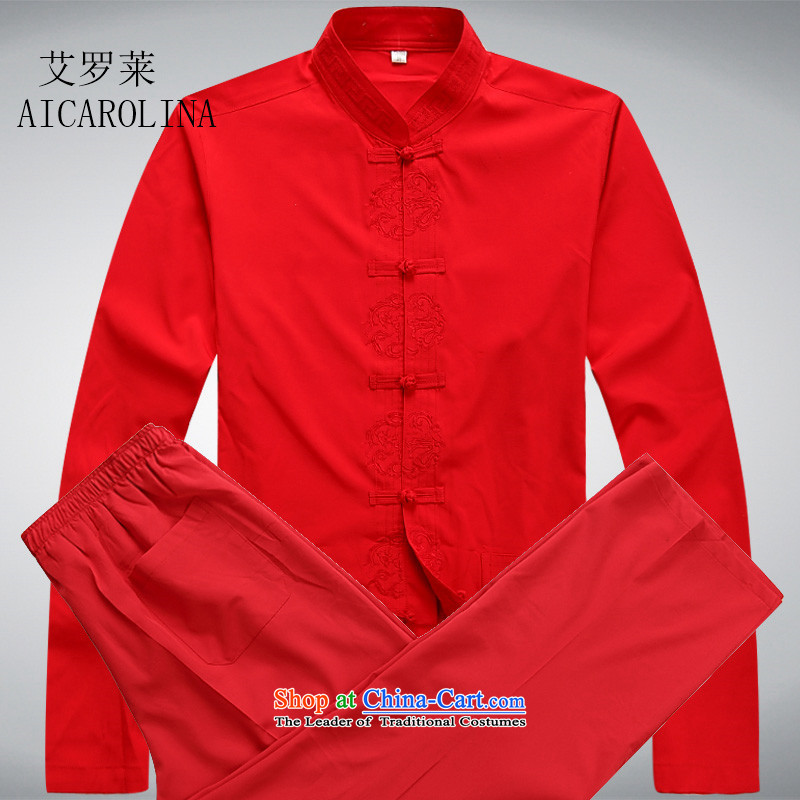 Hiv Rollet men in Tang Dynasty elderly men long-sleeved spring and fall father Tang Dynasty Package Chinese men red kit M