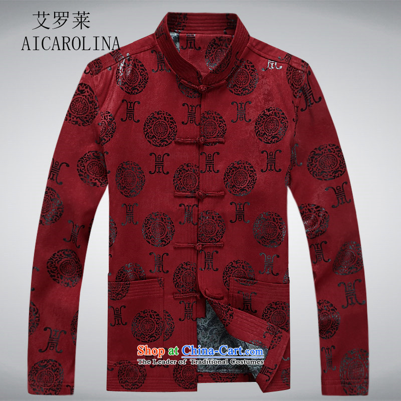 Hiv Rollet ethnic men Tang dynasty China wind up detained men and spring in the spring and autumn Long-sleeve older men's jackets red聽XXL