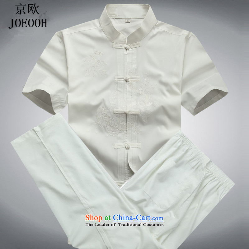 Beijing Europe China wind spring and summer load men Tang Dynasty Package for the elderly in his shirt-sleeves kit summer men White聽XXL Kit