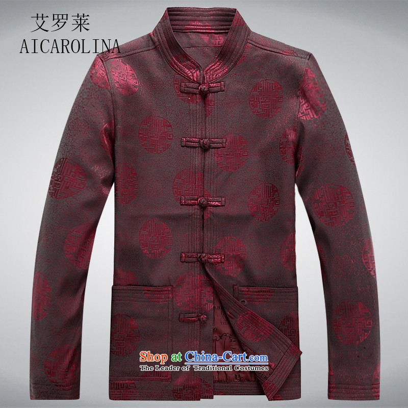 Hiv Rollet of older persons in the Tang dynasty and long-sleeved shirt men Chun men's jacket coat elderly Tang clothes red�L