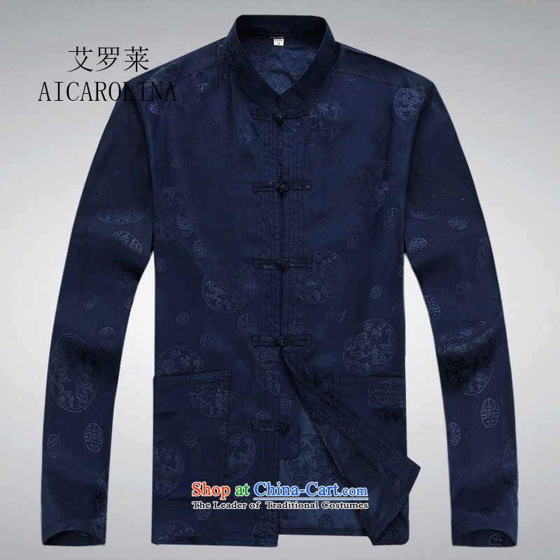 Hiv Rollet Spring and Autumn in New elderly long-sleeved Tang Dynasty Package Men's Mock-Neck Chinese father replacing Tang dynasty blue shirt聽XXL