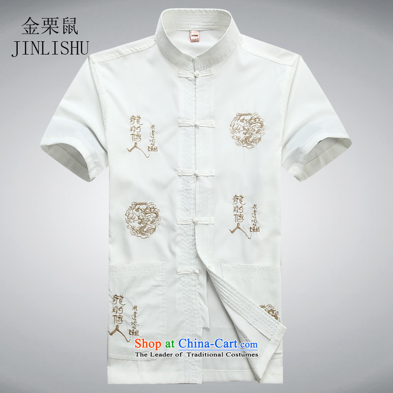 Kanaguri mouse men in the national costumes of older men Tang dynasty short-sleeve kit for summer white shirt?L