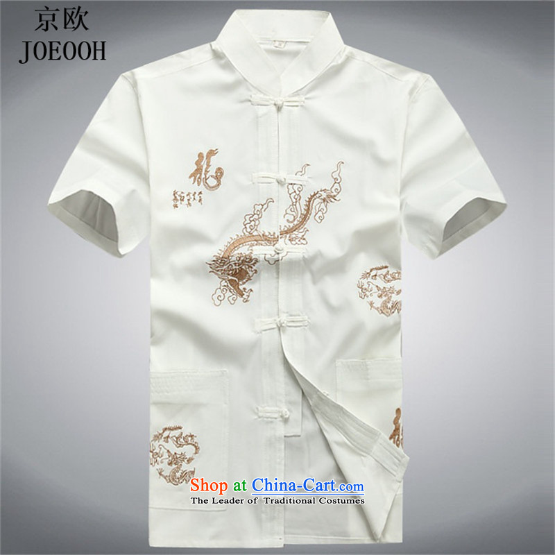 Beijing Europe 2015 Summer men in older father replace sheikhs wind loose large short-sleeved Chinese Tang Dynasty Package white shirt?  L