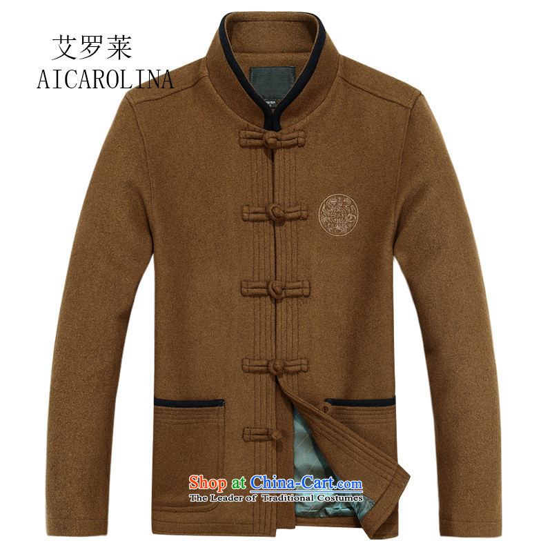 Hiv Rollet spring and fall in the number of older men Tang dynasty father grandfather replacing Chinese collar khaki jacket?XL