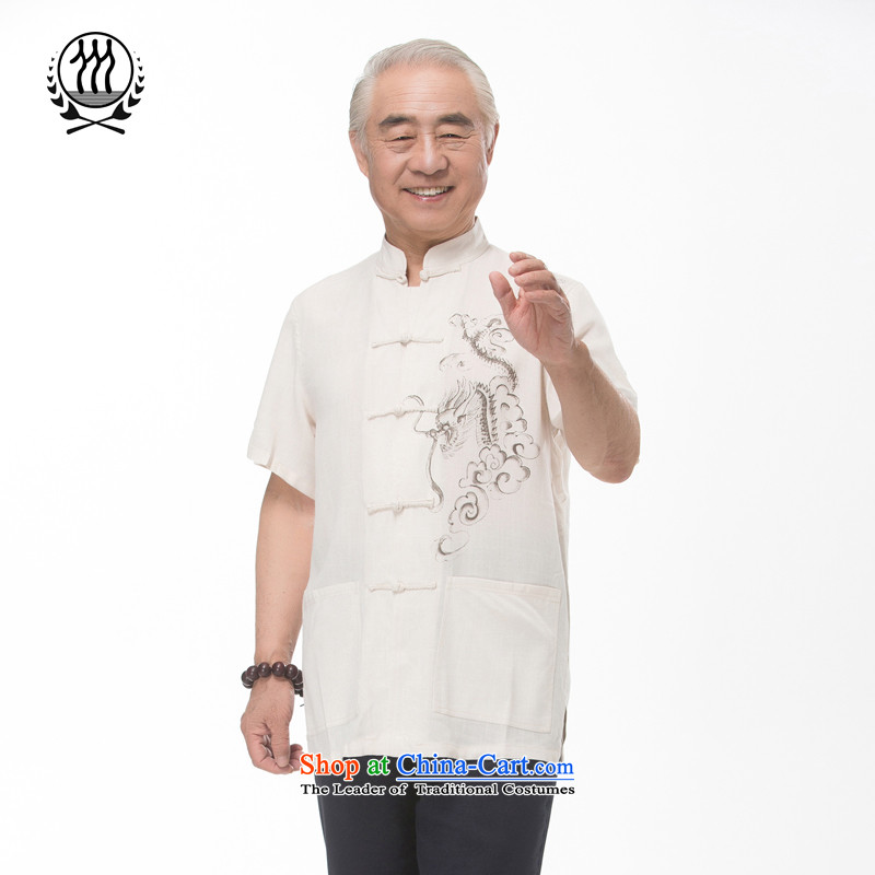Summer genuine new elderly men linen Tang Dynasty Chinese Dragon Chinese elderly short-sleeved cotton linen short-sleeved T-shirt of ethnic Chinese dragon short-sleeved T-shirt, beige?XXL_185