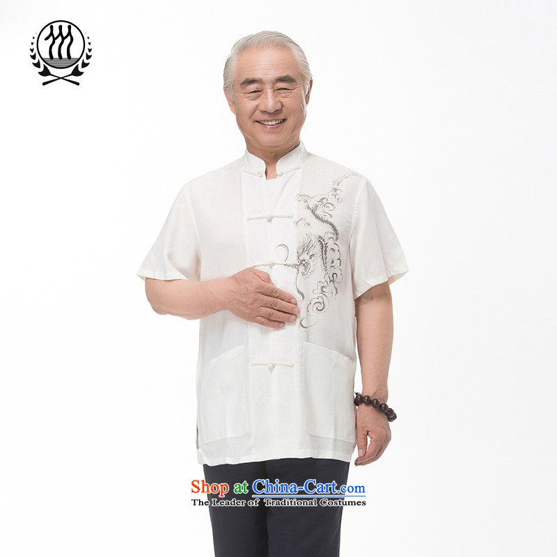Summer genuine new elderly men linen Tang Dynasty Chinese Dragon Chinese elderly short-sleeved cotton linen short-sleeved T-shirt of ethnic Chinese dragon short-sleeved T-shirt, beige聽XXL/185, thre line (gesaxing and Tobago) , , , shopping on the Internet