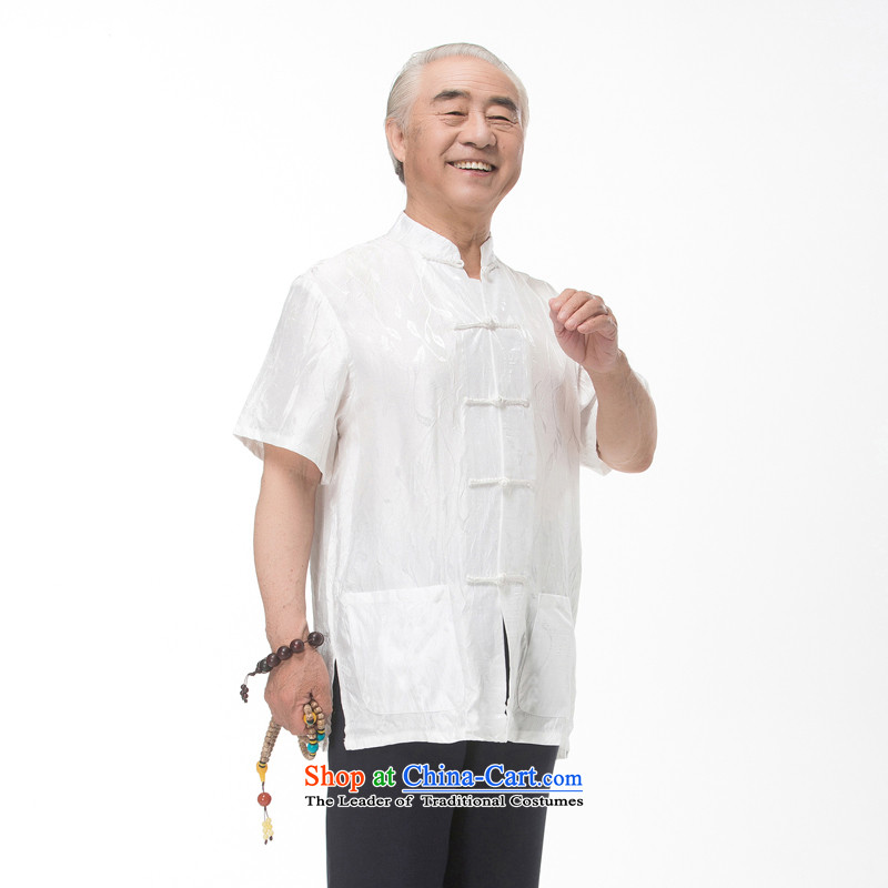 The elderly in the new 2015 cotton linen Tang dynasty male short-sleeved T-shirt Han-men and Tang dynasty summer national costumes stamp pack large white father聽XXXL_190