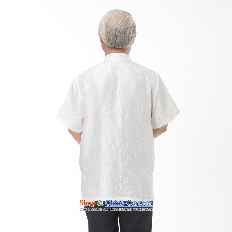 The elderly in the new 2015 cotton linen Tang dynasty male short-sleeved T-shirt Han-men and Tang dynasty summer national costumes stamp pack large white father聽XXXL/190, thre line (gesaxing and Tobago) , , , shopping on the Internet