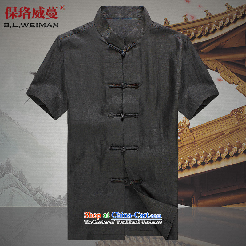 The Lhoba nationality Wei Overgrown Tomb 100 warranty herbs extract cloud of incense yarn pure color Tang dynasty male short-sleeved silk China wind summer in men's elderly men silk shirt black燲XL