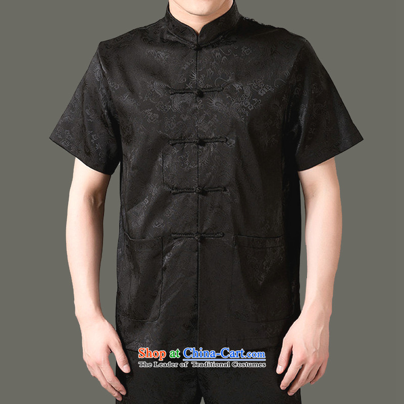 Rabies Urges Package Mail Adam and Eve genuine elderly men 14 summer new men short-sleeved Tang dynasty attired in older boys, Shou Summer Package SH807 black聽165 yards kit