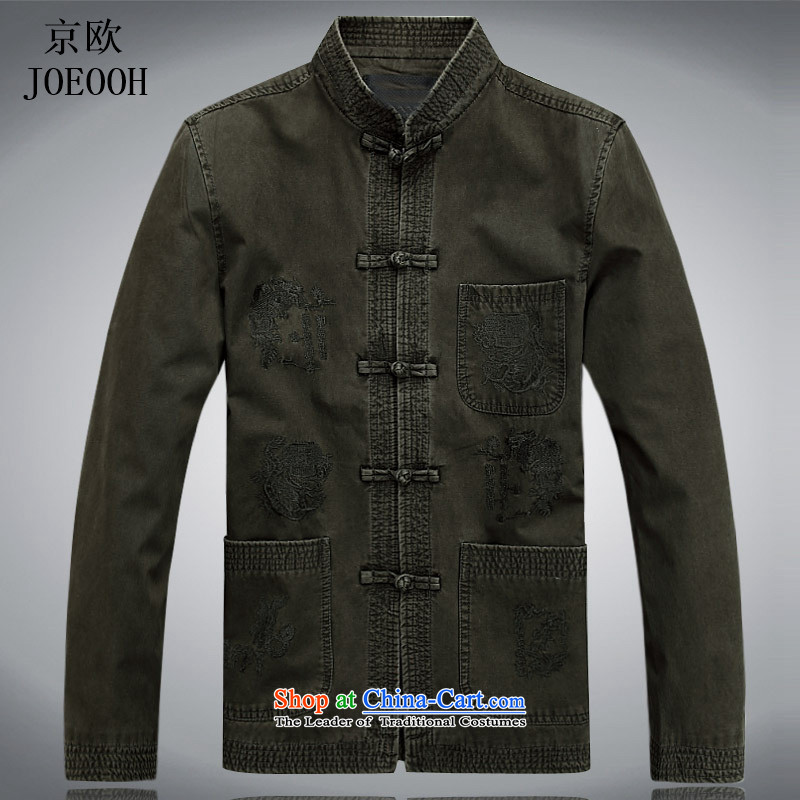 Beijing Europe of older persons in the Tang dynasty men fall long-sleeved shirt Chinese China Wind Jacket middle-aged men cotton with pale green spring and autumn聽XXL