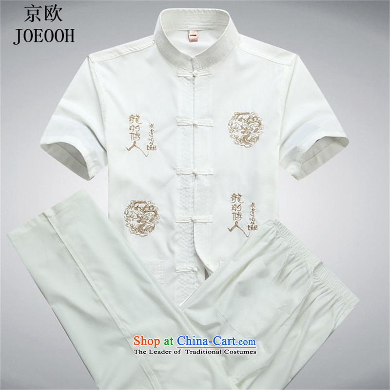 The elderly in the euro Beijing Summer Tang Dynasty New Men short-sleeve kit replace Tang Dynasty Father comfort men and national service kit燲XXL White