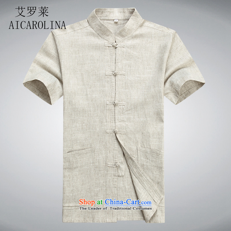 Hiv middle-aged men Rollet Tang Dynasty Package short-sleeved in Tang Dynasty older services father boxed beige ball-T-shirt聽XL