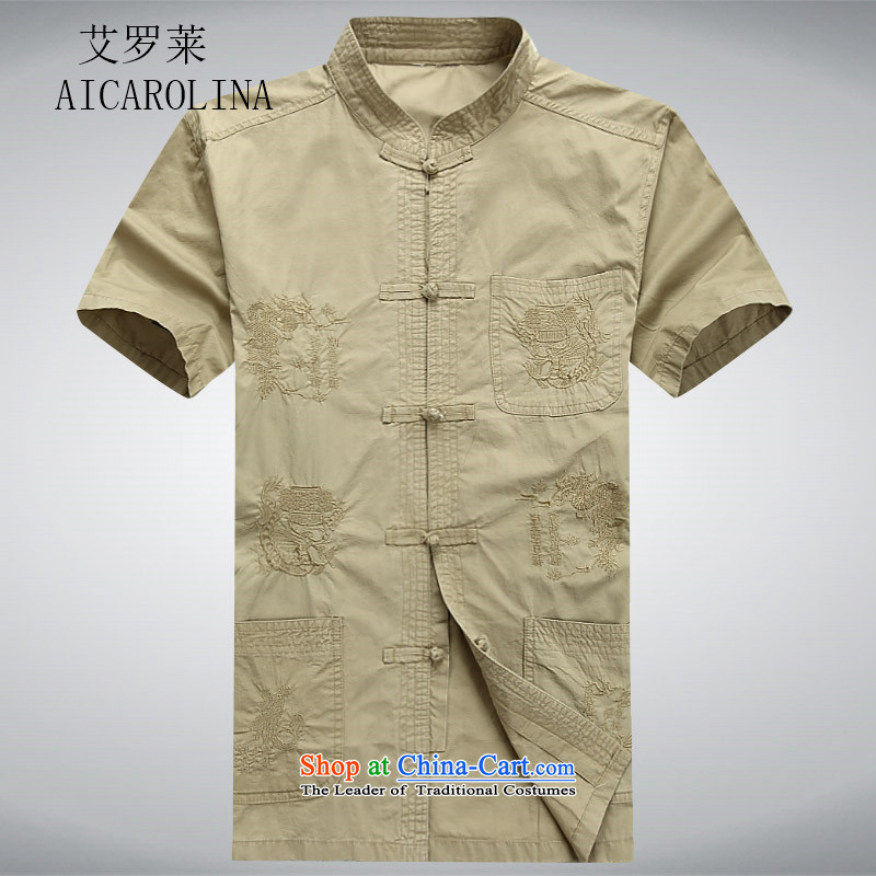 Hiv Rollet summer men Tang dynasty male short-sleeved T-shirt Chinese ROM China wind shirt clip summer khaki?S