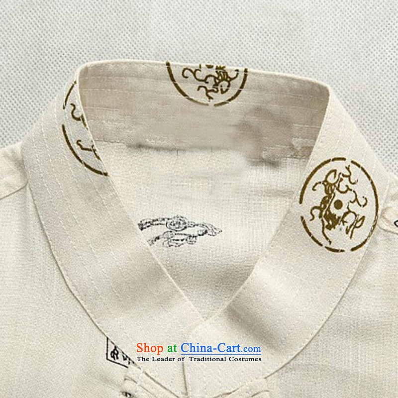 Rollet HIV Tang dynasty in the number of older men and short-sleeved T-shirt Tang Dynasty Chinese summer men Tang Dynasty Han-Menswear beige聽XXL, HIV ROLLET (AICAROLINA) , , , shopping on the Internet