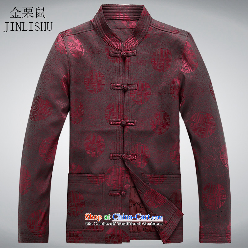Kanaguri mouse of older persons in the Tang dynasty and long-sleeved shirt men Chun men's jacket coat elderly Tang clothes red?XL
