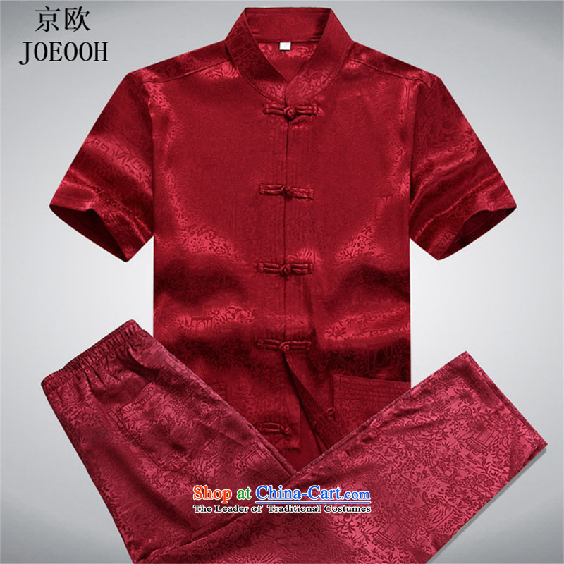 Beijing Summer of older persons in Europe men short-sleeved Tang dynasty male Kit China wind Chinese leisure national service for larger father red kit?XL