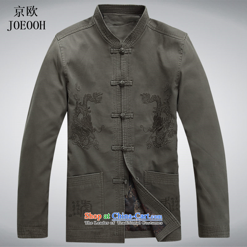 Beijing OSCE Men long-sleeved jacket male Tang Tang blouses sha money-cotton men during the spring and autumn Jacket coat and national service Chinese sage green聽XXL