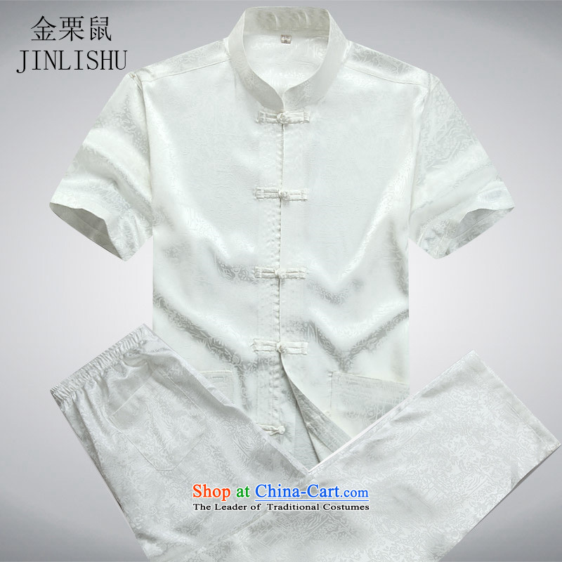 Kanaguri mouse in the new boxed sets older tang in the summer of older men's Mock-neck Chinese short-sleeved shirt White Kit燲L