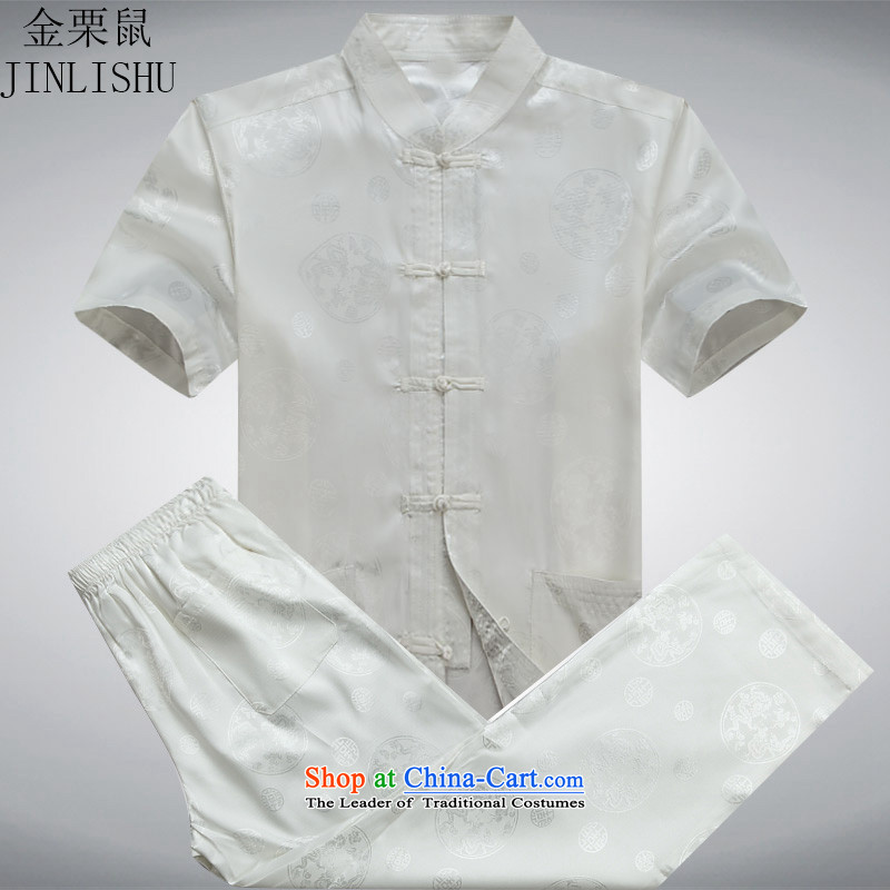 Kanaguri mouse men in the summer of Tang Dynasty elderly men summer short-sleeve kit Chinese national costumes father large load White Kit燣