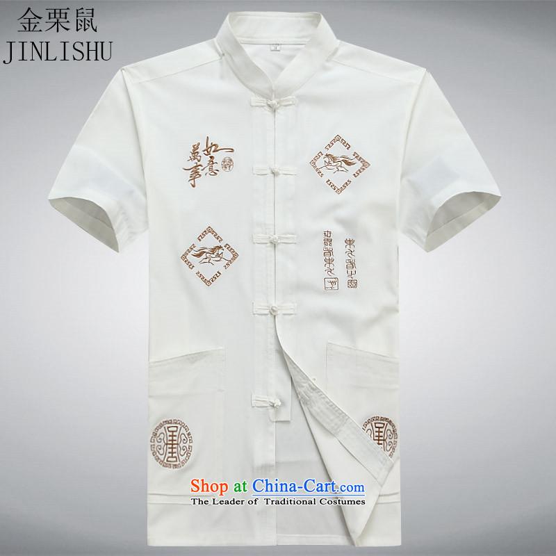 Kim Gopher summer, older men Tang dynasty short-sleeved improved Tang Dynasty Chinese ethnic Han-T-shirt white?S
