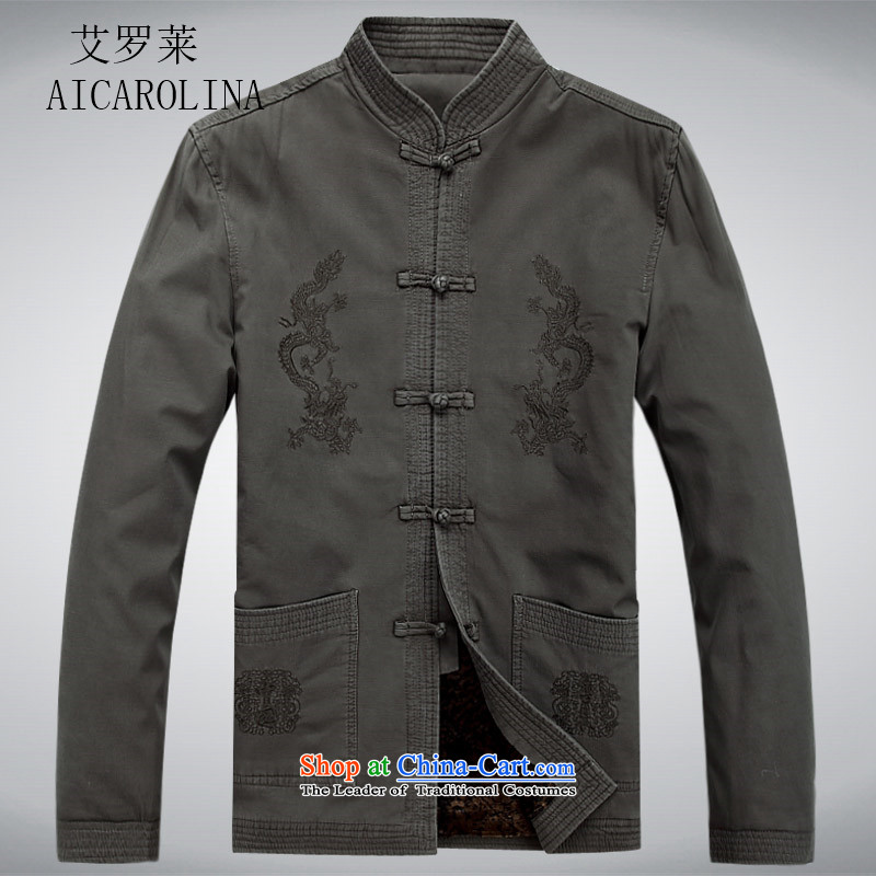 Hiv middle-aged men Rollet Tang dynasty new leisure Chinese Men's Long-Sleeve Jacket China Wind Light Gray聽XXL