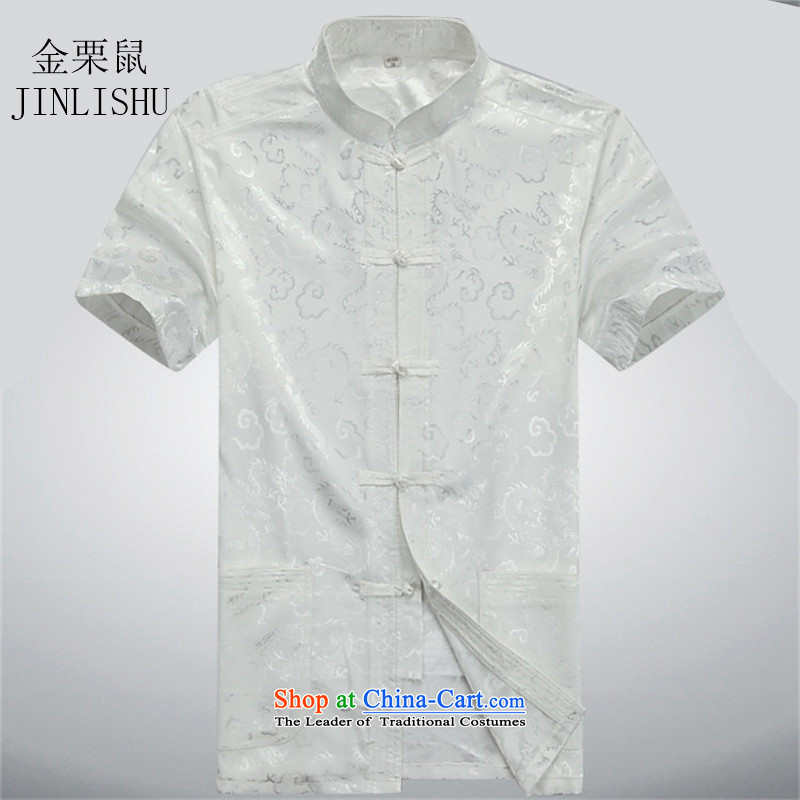 Kanaguri mouse in Tang Dynasty older men and China wind load Chinese summer father men short-sleeved Tang dynasty male Kit Tang dynasty beige jacket聽L