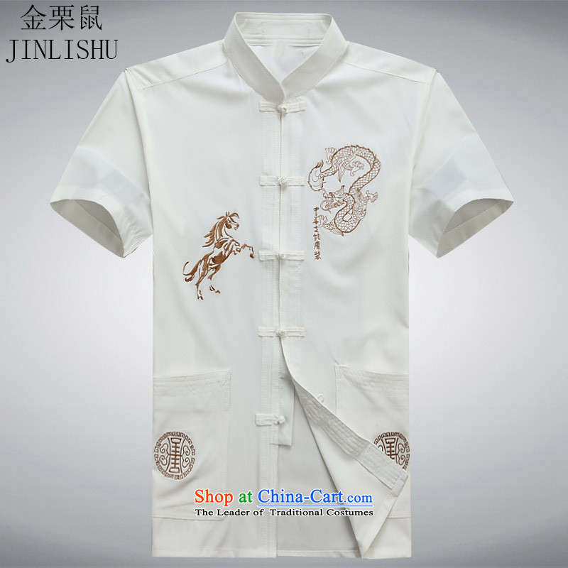 Kanaguri mouse in Tang Dynasty older men and short-sleeved shirt older older persons summer load men dad grandpa replacing white聽L
