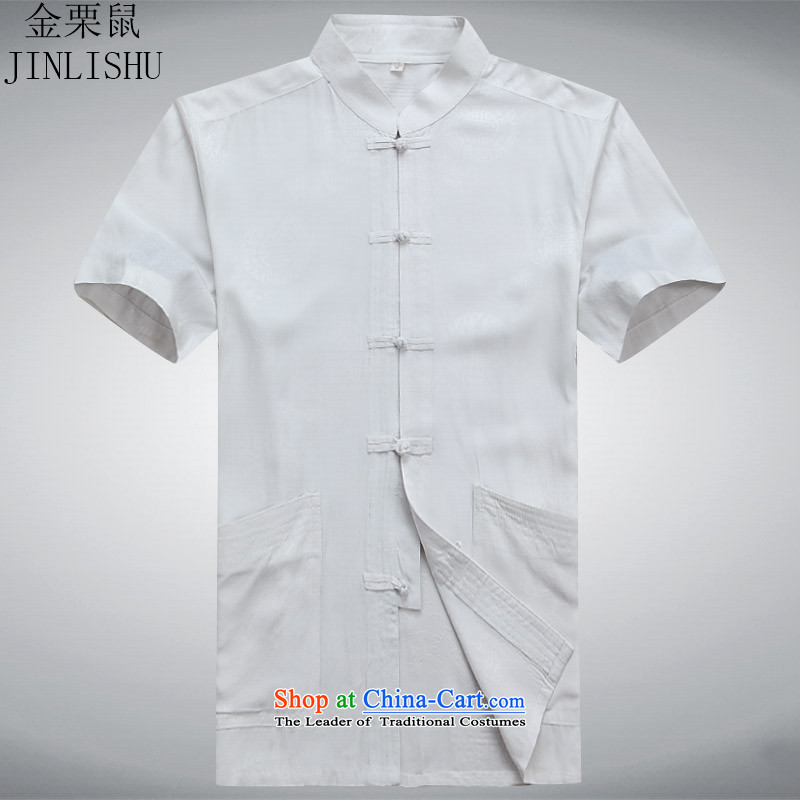 Kanaguri mouse summer Tang Dynasty Men's Mock-Neck Shirt that short-sleeved older Men's Shirt summer leisure white?L