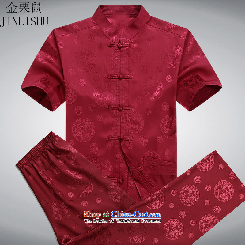 Kanaguri mouse men in the summer of Tang Dynasty elderly men summer short-sleeve kit Chinese national costumes father large load red kit燤