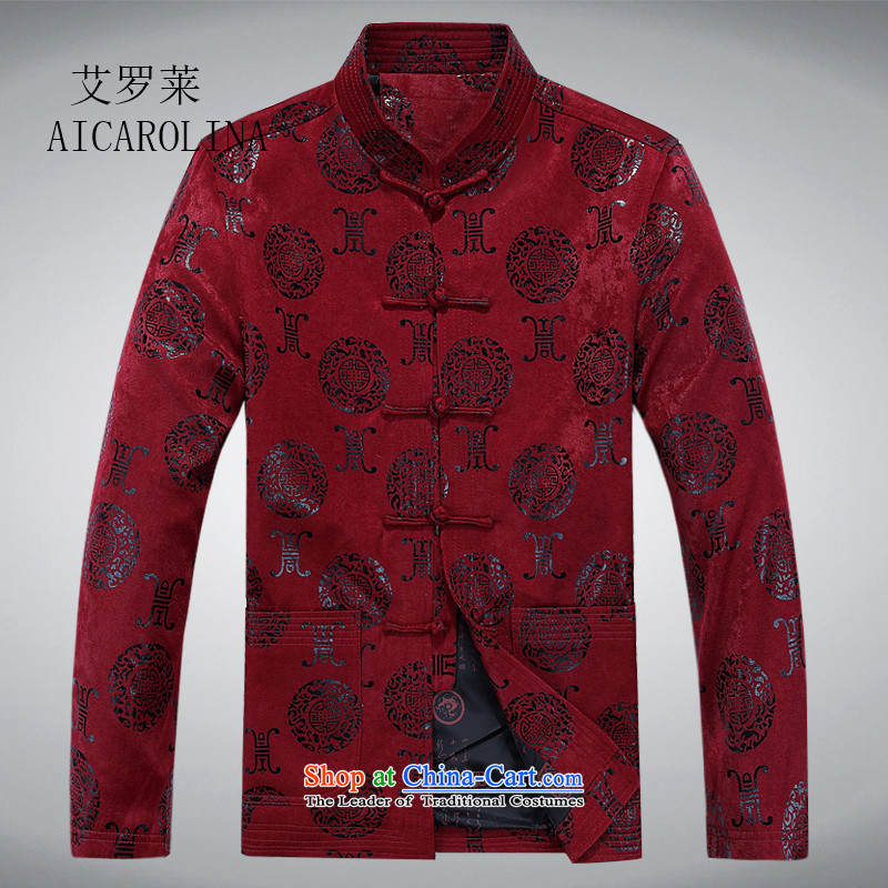 Hiv Rollet New China wind the elderly in the Tang dynasty and grandfather boxed long sleeve jacket large Chinese national jacket male maroon燲XL