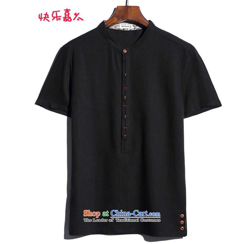 Happy Man Ka Man summer new larger linen collar short-sleeved shirt cotton linen ethnic DC1139 black XXL