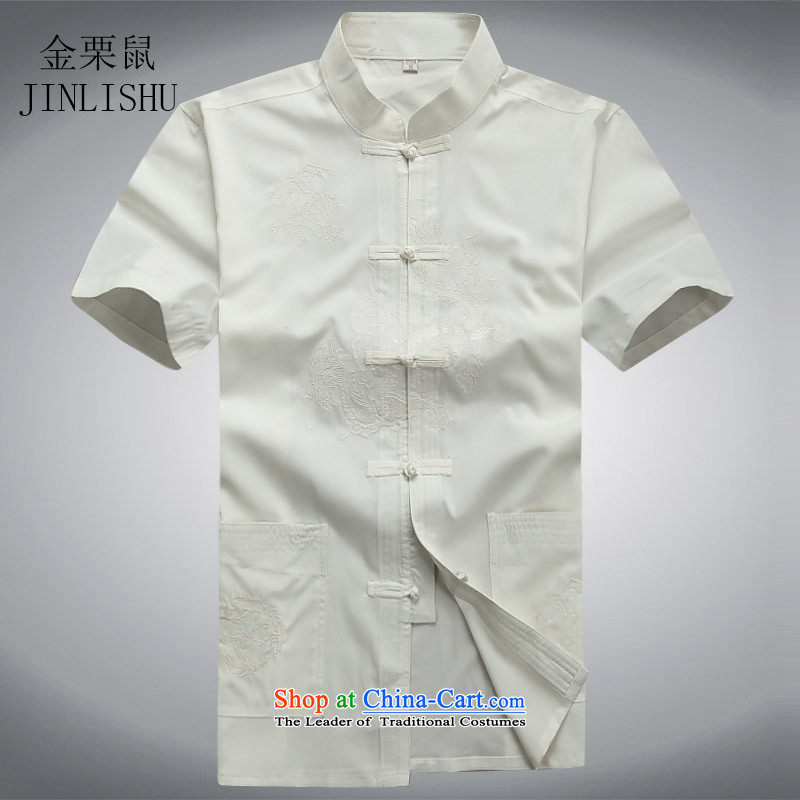 Kanaguri mouse in spring and summer men Tang Dynasty Package short-sleeved elderly Chinese men's China wind grandfather summer short-sleeved Tang dynasty white shirt聽XXL