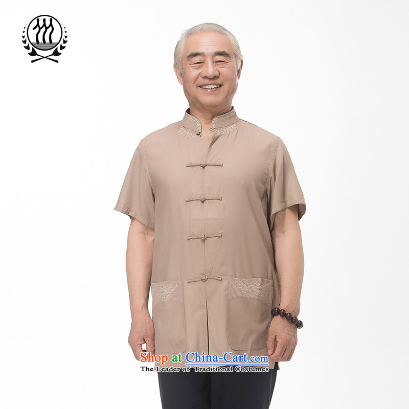 Bosnia and thre line 2015 Summer in older men large short-sleeved shirt Tang dynasty short-sleeved shirt with father men embroidery process of older men Tang dynasty khaki M/170
